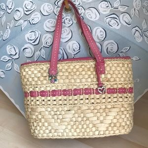 Large straw/leather Brighton bag